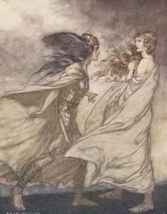 Waltraute og Brünnhilde (Arthur Rackham)