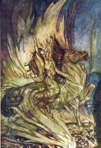 Brünnhilde stiger til båls (Arthur Rackham)
