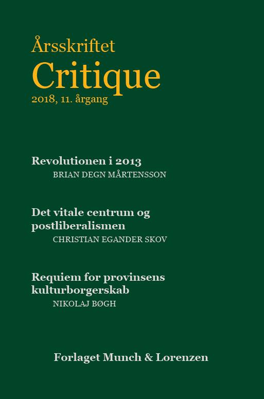 Årsskriftet Critique 2018: ude nu
