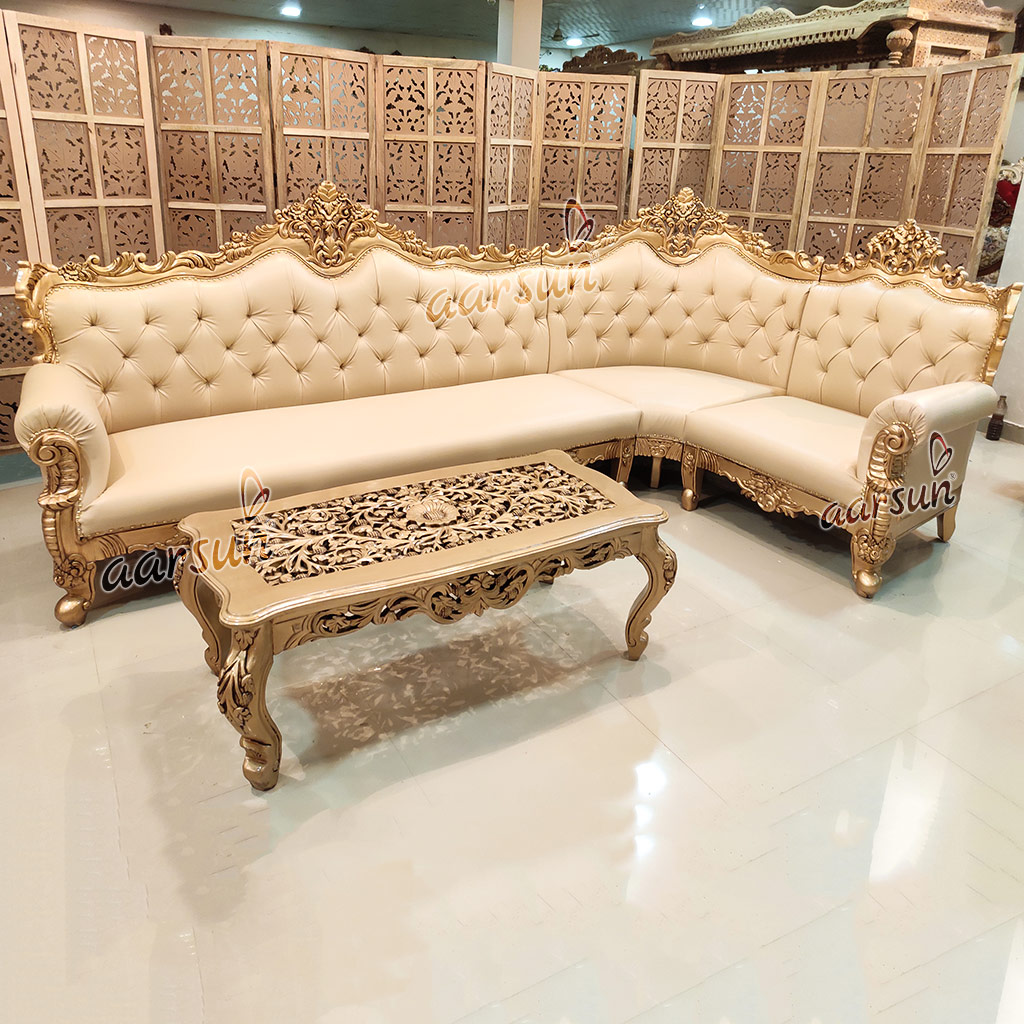 luxury l shape sofa quality wood yt 173