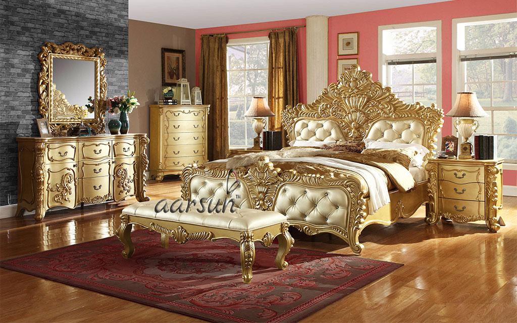 luxury carved wood furniture bedroom