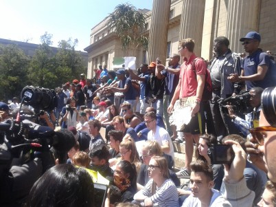 Take Back Wits students who staged a protest, against the university shut down. Photo: Aarti Bhana