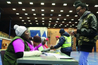 Witsies cast their votes at the East Campus Old Mutual Sports Hall voting station. Photo: Aarti Bhana