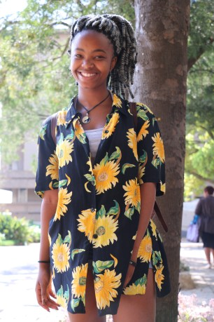 """Keamogestwe Rakgoadi is taking her """"flower power"""" springtime fasion statement to a whole new level in her cute flower print blouse. Photo: Aarti Bhana"""