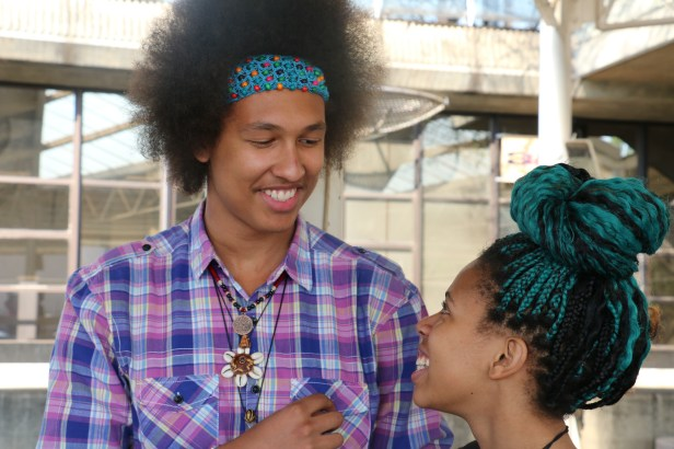 Nicolas Halliday (left) and Tameka Mngomezulu (right) have added funk to their hairdos, with a crocheted beaded band and teal colour braids. Photo: Aarti Bhana