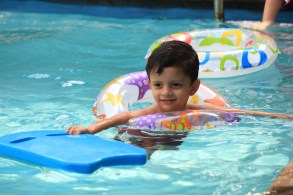 Floating boy