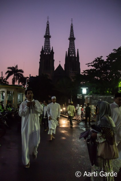 The Jakarta Cathedral in the background