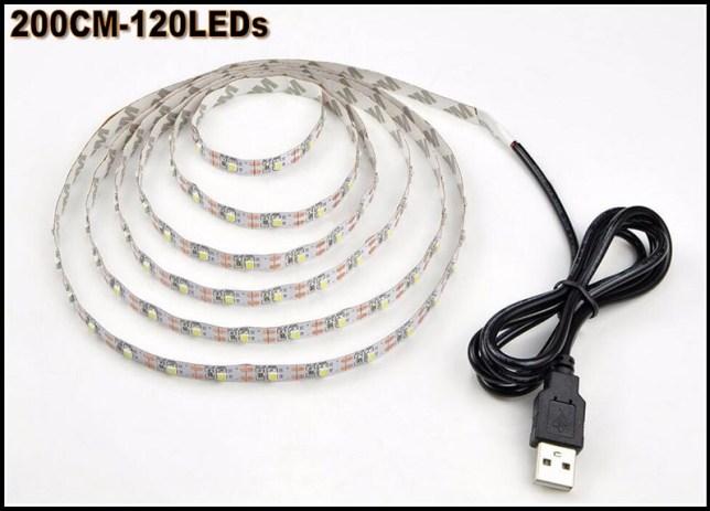 USB ledsnoer met afstandsbediening: elke kleur is mogelijk, elke sterkte ook.