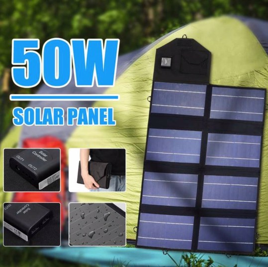 50W opvouwbaar zonnepaneel dual output 12V + USB