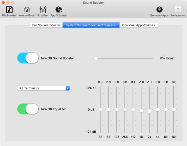 equalizer in Soundbooster op de Mac