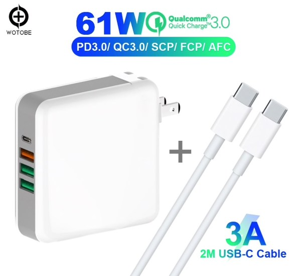 61W USB-C oplader gratis kabel en 3x USB