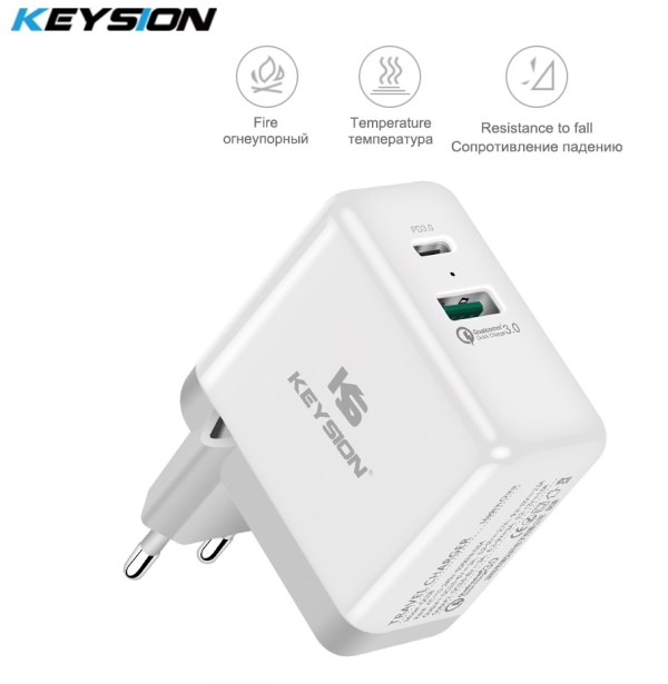 KEYSION 2 Ports 36W USB-C PD snellader QC 3.0 (15,-):