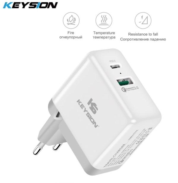KEYSION 2 Ports 36W USB-C PD snellader QC 3.0 (15,-):