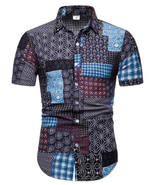 Hawaii shirt korte mouw zomer goedkoop linnen katoen