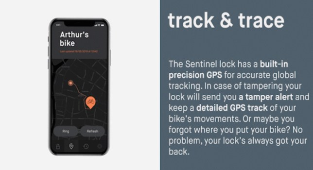 sentinel fietsslot track and trace