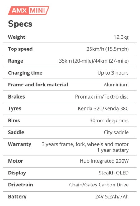 lichte ebike AMX Mini Specs