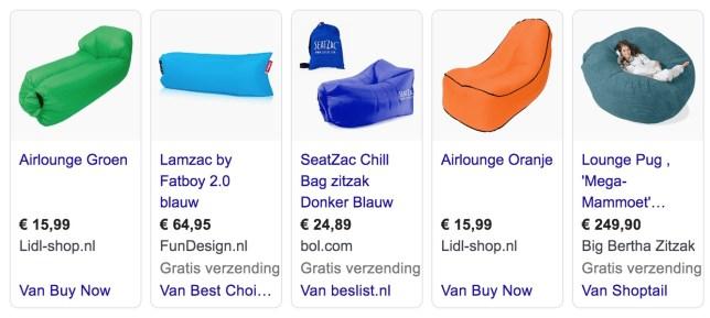 Airlounge Seatzac lamzac lazy bag opblaasbare stoel