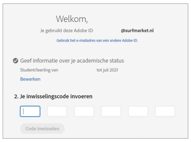 adobe cc inwisselingscode werkt niet deze code is ongeldig