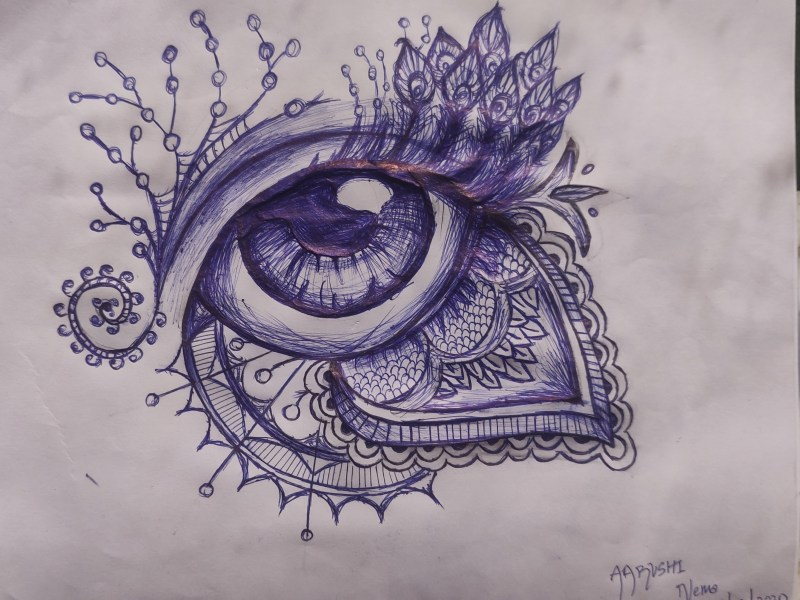 Human Eye Embraced by Mystical Motifs