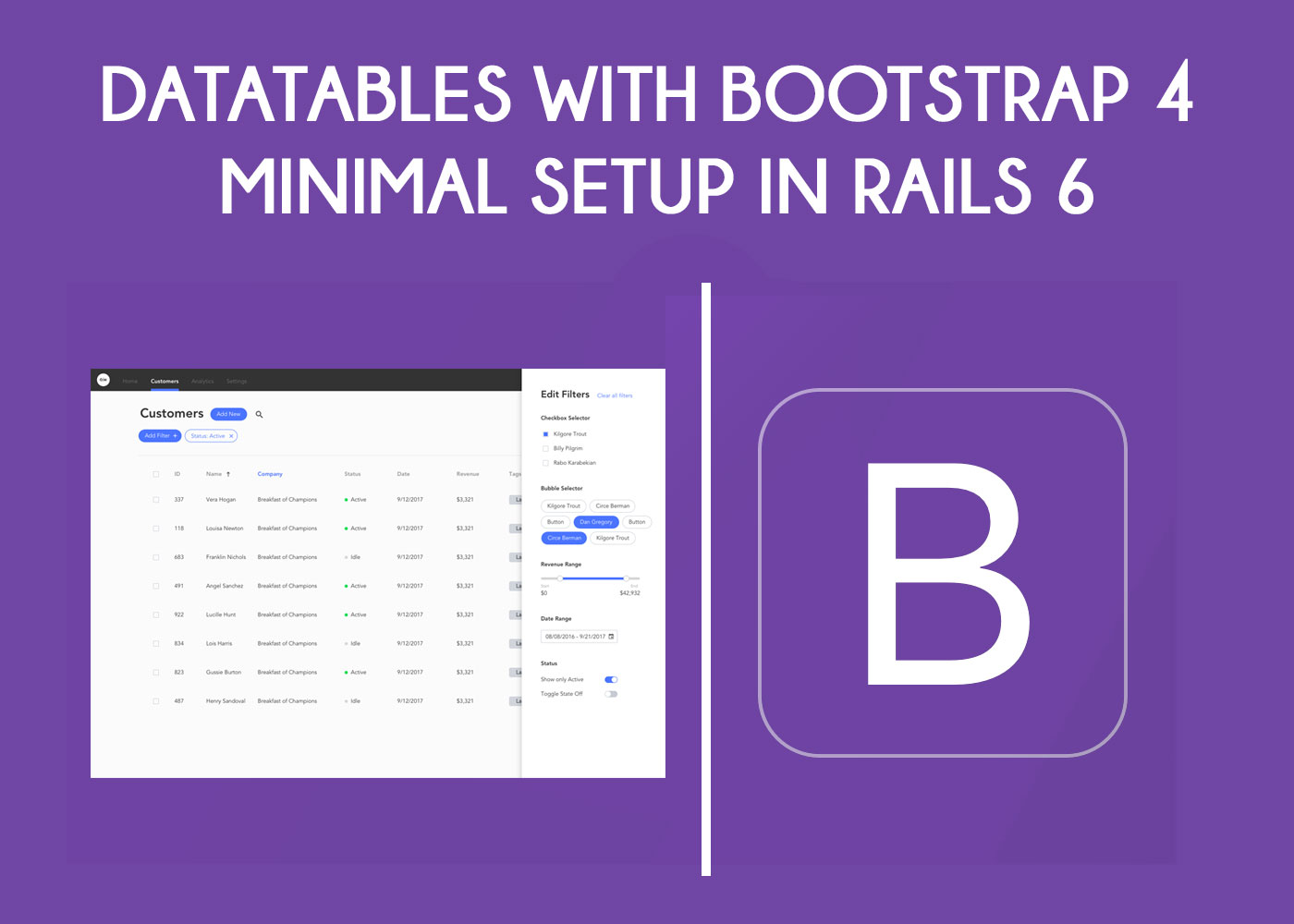 DataTables with Bootstrap 4 Minimal Setup in Rails 6