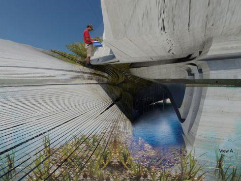 Artificial wetland flood prevention centre