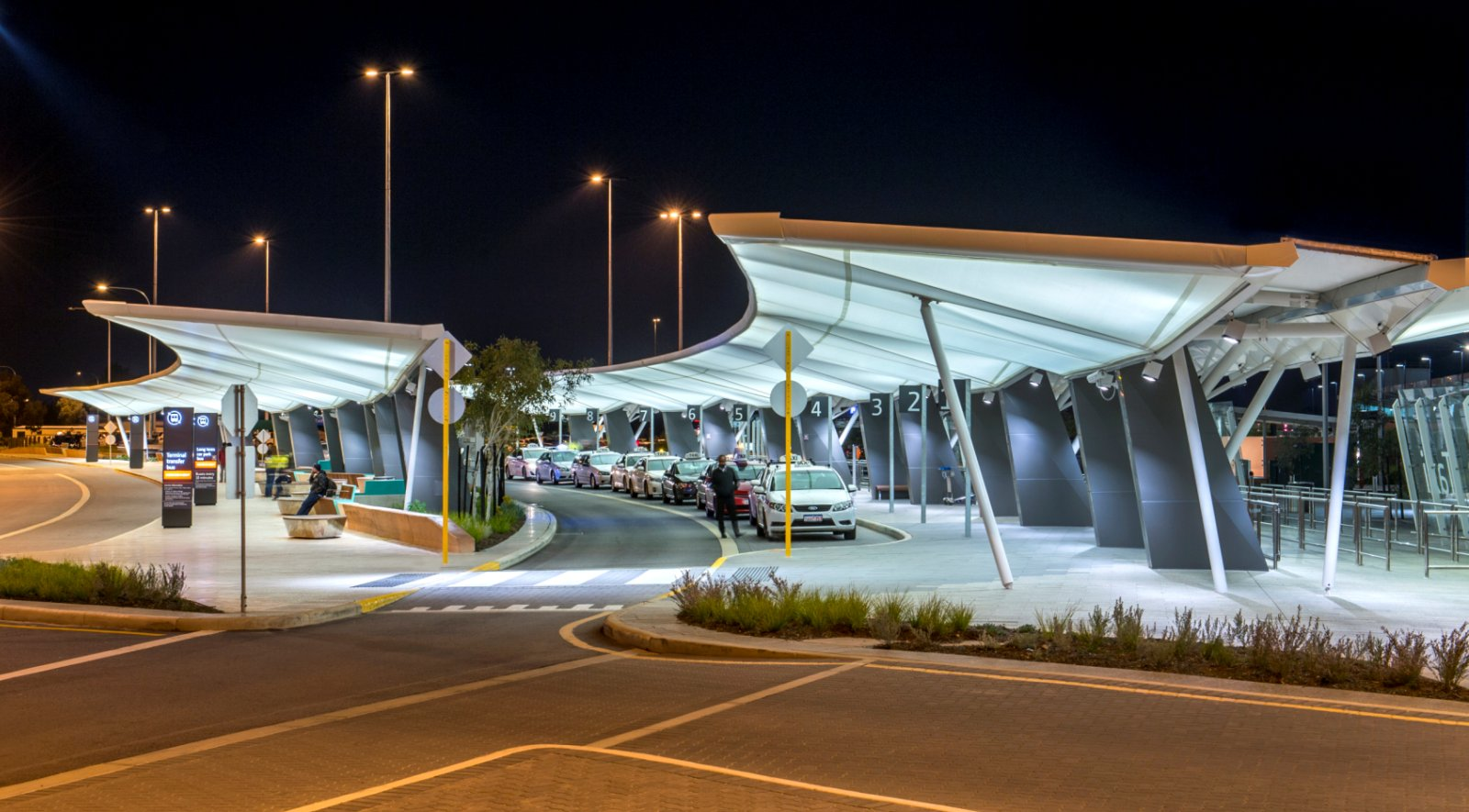 Winged Canopies for Perth Airport & Winged Canopies for Perth Airport by Woods Bagot