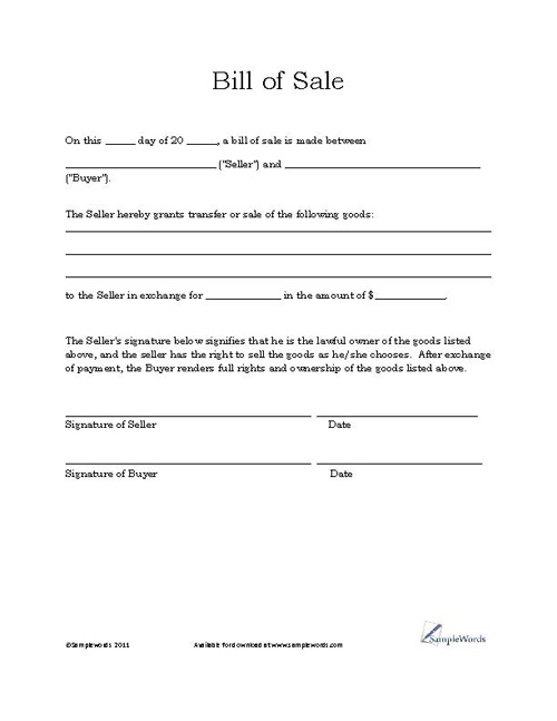 Automobile Bill Of Sale Template Word  Free Download