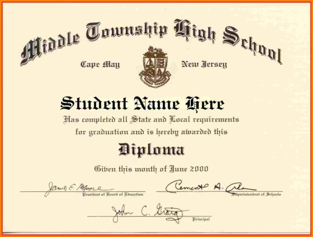 High School Diploma Templates printable