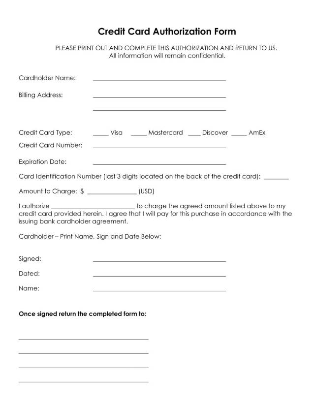 Credit Card Authorization Form Template  Free Download