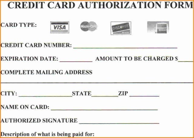 Credit Card Authorization Form Template - FREE DOWNLOAD