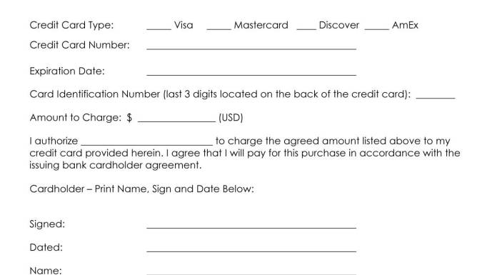 credit card authority form