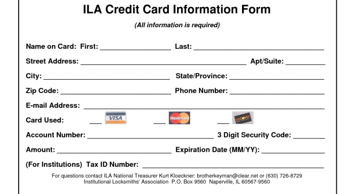credit card information form