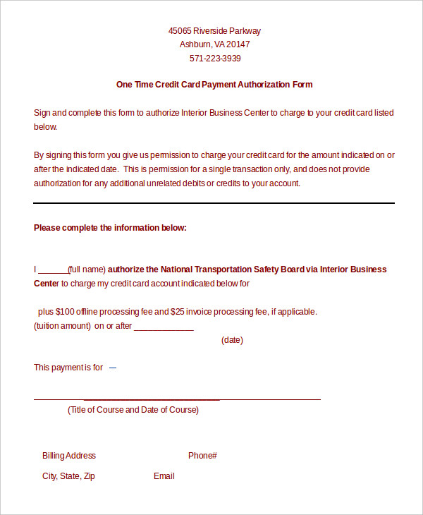 One Time Credit Card Authorization Form