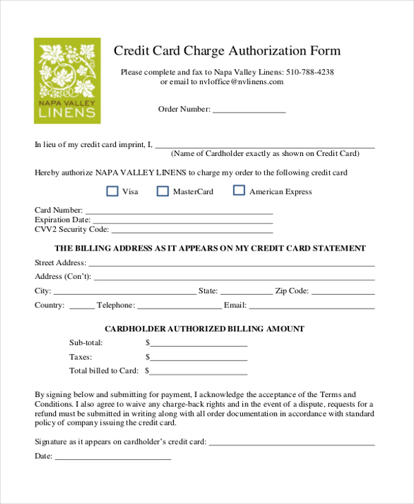 credit card on file form templates