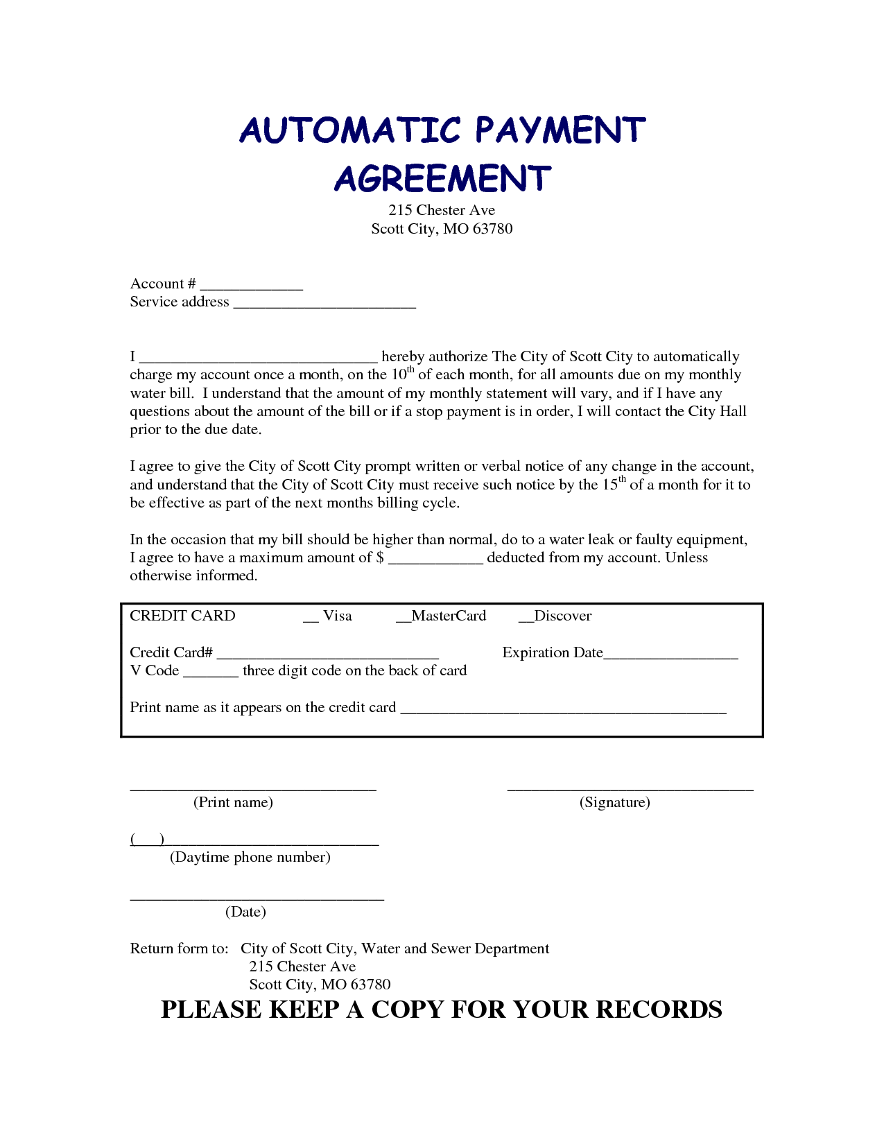 Car Payment Agreement Form Free Download