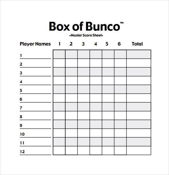 image relating to Bunco Score Sheets Free Printable named Bunco Rating Sheets Template - Free of charge Down load