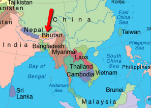 The Location of Bhutan in reference to other countries in ASIA