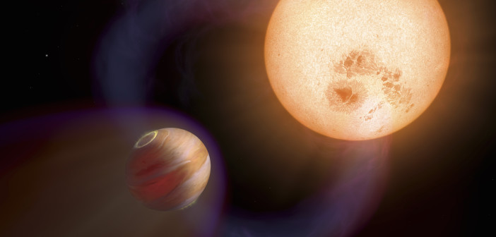 Artist's impression of a hot Jupiter preceded by a bow shock, as it orbits its host star supersonically. Scientists have recently discovered evidence of a shock ahead of the exoplanet HD 189733b. [NASA, ESA and A. Schaller (for STScI)]