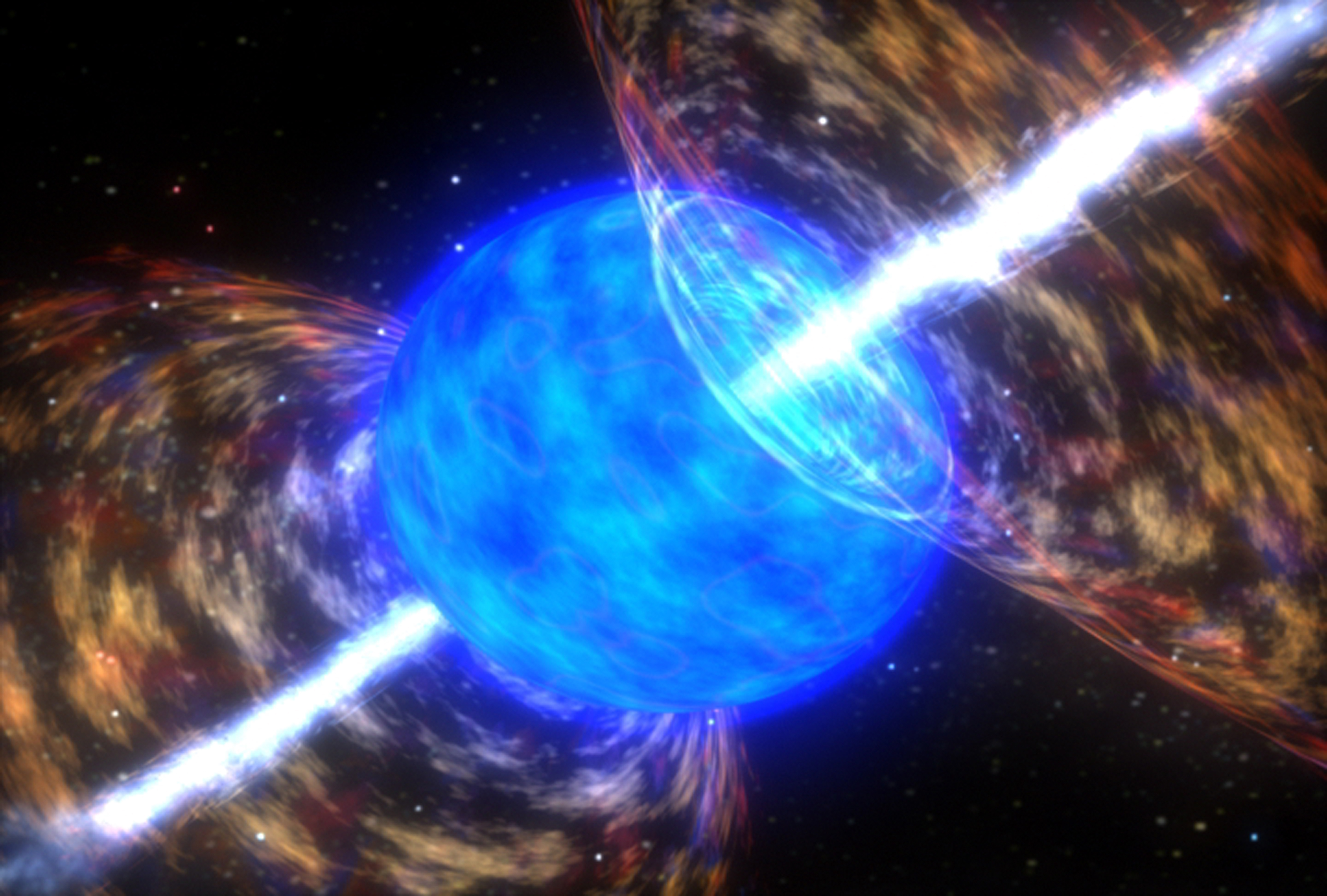 A scene from a computer animation of a star collapsing to form a gamma-ray burst. A recent study suggests such events could happen on a much larger scale in the distant universe. [NASA / SkyWorks Digital]