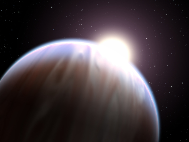An artist's illustration of an exoplanet orbiting a hot star. Few planets have been found to orbit hot main-sequence A stars, but a recent discovery illustrates a new way to find such planets orbiting further out in the stars' habitable zones. [NASA, ESA, and G. Bacon (STScI)]