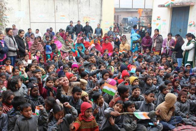 Aasraa Trust celebrates India's 67th Republic Day in the slum community of Govindgarh