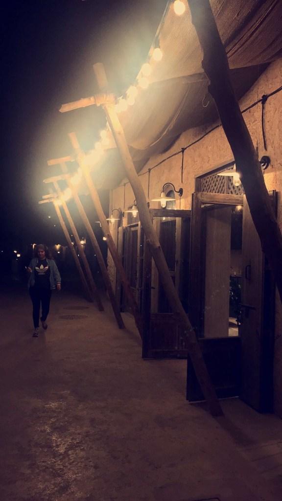 شارع او ممشى السيف الجديد في دبي و مطعم بيت الشاي
