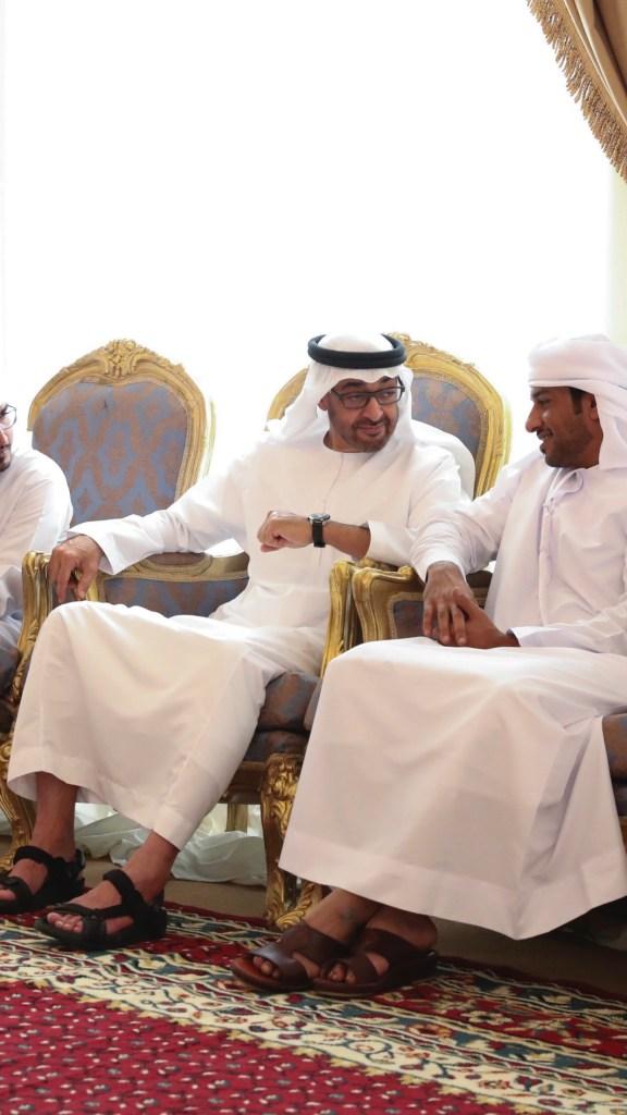 #محمد_بن_زايد يقدم واجب العزاء خلال زيارة سموه مجلس عزاء الشهيد جاسم صالح راشد الزعابي في رأس الخيمة.#استشهاد_جنودنا_البواسل