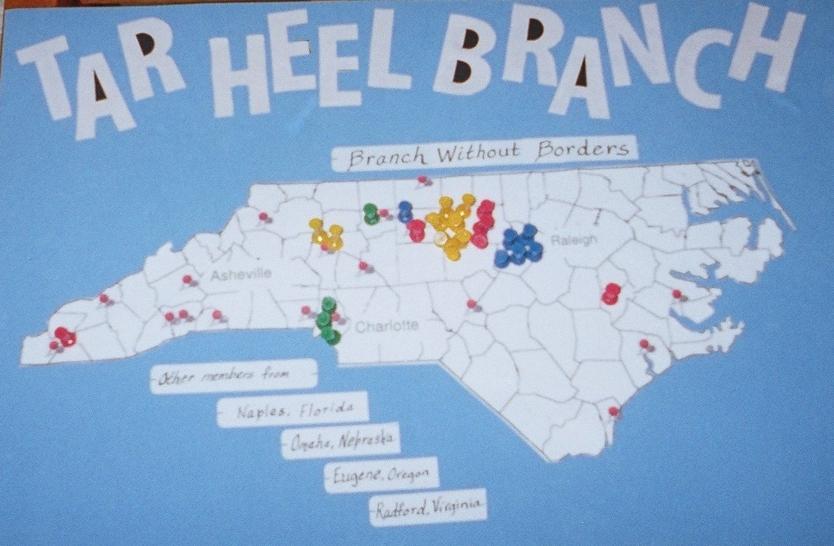 Hometowns of the Tar Heel Branch members