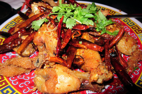 Chongqing chicken wings with chili and crispy beef tripe (Wally Gobetz )