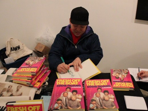 Eddie Huang signing copies of Fresh Off the Boat before the February 21 event with Miss Info at Chambers Fine Art.