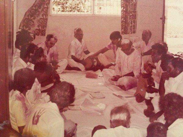 Mindra's father TK Sahadeo singing chautal in Guyana in ??1970s?? (Photo courtesy of Nanda Sahadeo)