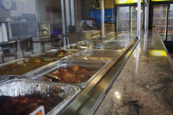 Hot dishes are laid out buffet style for fast and easy ordering.