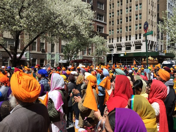 Thousands join the opening prayer before the start of the 28th annual Sikh Day Parade in Manhattan.