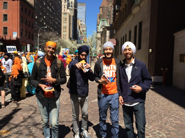 Amar Kalicharan (left) and his Junior Sikh Coalition friends pose for a photo during a long day of outreach activities.
